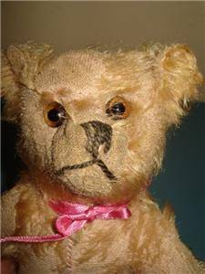 Very Old Unusual Pink Mohair Teddy Bear with Pointy Feet 26 cm Tall