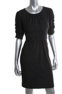 Jones New York NEW Gray Pleated Pucker Sleeves Wear to Work Dress Petites 8P