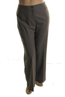 Jones New York NEW Gray Stretch Striped Flat Front Dress Pants 16 BHFO