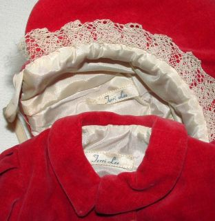 "1950s Terri Lee Original Tagged Outfit for 16"" Doll Red Velvet Coat Hat w Fur"