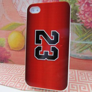 Apple iPhone 4 4S Jordan 23 Red Jersey Rubber Silicone Skin Case Phone Cover