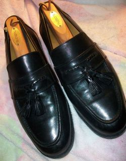 JOHNSTON MURPHY Mens Black Tassel Loafer Dress Shoes Size 10 M