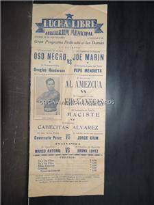 Oso Negro vs Joe Marin Pepe Mend vint Mexi Wrestling Program Lucha Libre 40'S