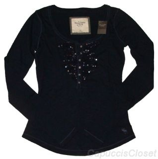 Abercrombie Fitch Womens Shirt Jorie Henley Top Embellished Navy XS New