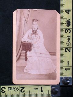 Antique CDV Photo of Beautiful Young Woman in White Dress Jonesville Mich