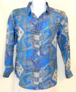 Jonathan Martin Large Silk Blue Pattern Button Down Long Sleeve Career Shirt Top