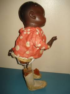 Old 1920's Hermann Steiner Black Baby Doll Clockwork Walker TLC Wind Up Toy
