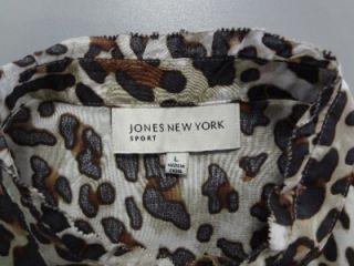JONES NEW YORK SPORT Large Leopard Brown Blouse Top Cheetah Shirt MINT L