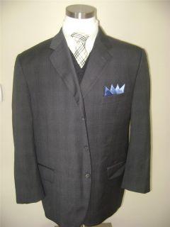 Joseph Abboud mens 3 btn dark gray plaid wool sport coat jacket blazer sz 44S