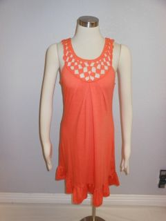 Jonathan Martin Bright Orange Macrame Neckline Ruffle Hem Soft Sundress Sz M
