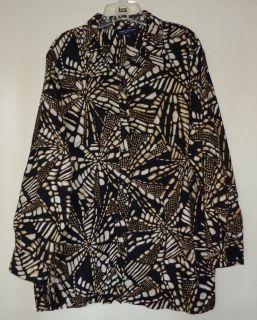 Womens JONES NEW YORK SIGNATURE Plus Size 3X Shirt Top Blouse Black Brown EUC