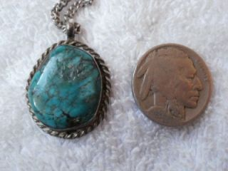 Vintage Sterling Silver Turquoise Nugget Stone Navajo Indian Pendant Chain
