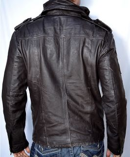 SUPERDRY Brad Men's Leather Motorcycle Jacket Beckham Biker Cut New Brown