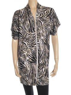 Josie Natori Short Sleeve Long Knit Top Silk Sweater Shrug sz S