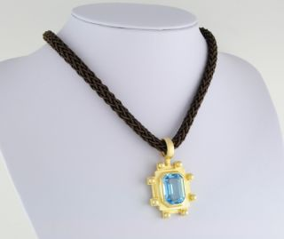 Designer J Esposito 12ct Sim Blue Topaz CZ Pendant w Brown Soft Cord