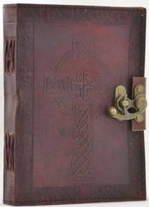 "Celtic Cross Leather Journal with Locking Clasp 6""x8"" Pagan Wiccan Witch BOS"