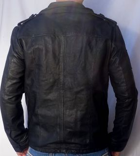 SUPERDRY Brad Men's Leather Motorcycle Jacket Beckham New Black 2XL XXL