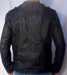 SUPERDRY Brad Men's Leather Motorcycle Jacket Beckham New Black 2XL XXL