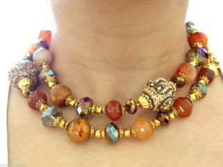 Jose Maria Barrera Premier Designer Bergdorf Goodman Long 22K Stones Necklace