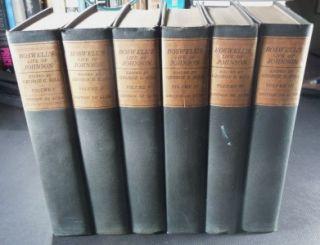 Complete 6 Volume Set of Boswells Life of Johnson Bigelow Brown c1900