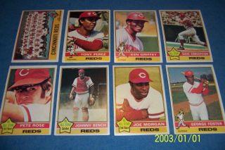 1976 Topps Cincinnati Reds Complete Set Pete Rose Johnny Bench Tony Perez Free