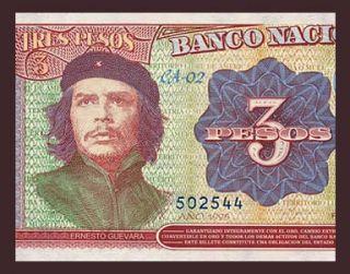 3 Pesos Banknote of Cuba 1995 Che Guevara Commemorative Pick 113 Crisp UNC