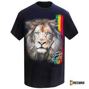 Lion of Judah Reggae Rastafari Rasta Selassie Africa T Shirt Marley Jamaica Lion