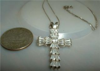 "18"" Sterling Silver Faceted Crystal Rhinestone Cross Pendant Necklace DBJ"