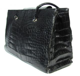 Judith Leiber Large Black Crocodile Leather Shopper Tote Bag Needs Restoration