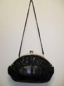 Judith Leiber Vintage Black Snakeskin Gold Clutch Handbag Purse Shoulder
