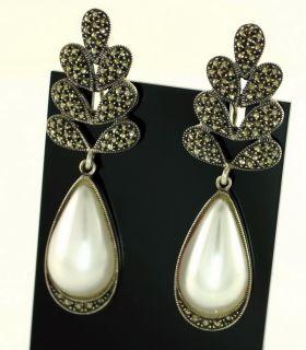 "Judith Jack Sterling Silver Marcasite Pierced Omega 2 5"" Long Dangle Earrings"