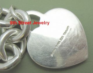 Retired Judith Ripka Sterling Silver Country Club Link Necklace with Heart Charm
