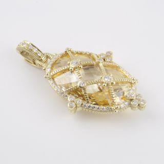 Judith Ripka Gold Diamond Oval Clipon Pendant Enhancer