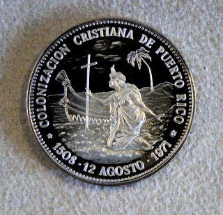 1971 Silver Christian Colonization of Puerto Rico Commemorative Coin