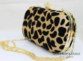 Gold Leopard Animal Print Suede Velvet Sparkle Shoulder hand Evening Clutch Bag
