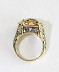 Judith Ripka 18K Yellow Gold Champagne Quartz and Diamond Monaco Ring