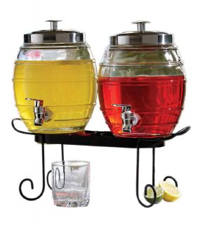 Style Setter Pub Glass Beverage Dispenser Set with Stand New
