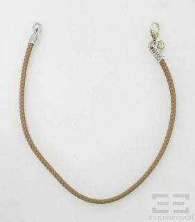 Judith Ripka 18K Yellow Gold Sterling Diamond Leather Necklace