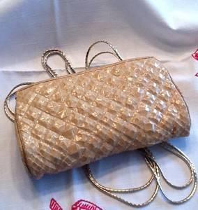 Vintage 70's Judith Leiber Snakeskin Clutch and Shoulder Bag Gold