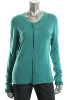 Elie Tahari NEW Joss Green Long Sleeve Button Front Cardigan Sweater S BHFO