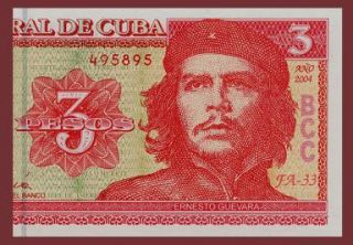 3 Pesos Banknote of Cuba 2004 Commemorates Che Guevara Pick 123 Crisp UNC