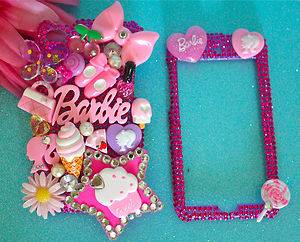 Barbie iPod Touch 4G 4th Gen Pink Crystal Juicy Cute Bling Deco 3D Apple Case
