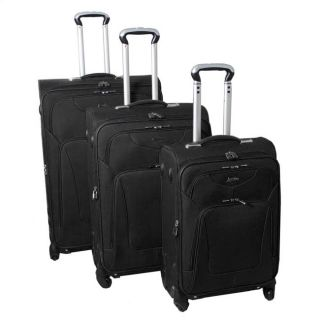 Jourdan Hassle Free Lightweight 3 Piece Expandable Spinner Luggage Set Black