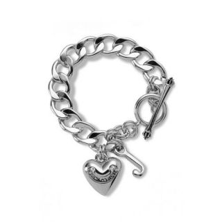NEW JUICY COUTURE Silver Heart Starter Charm Toggle Bracelet Gift AUTHENTIC NIB