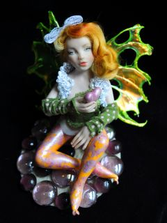 Handmade OOAK 6 inch fairy fae pixie Clay Art Doll Fantasy IADR Anna Cimmino
