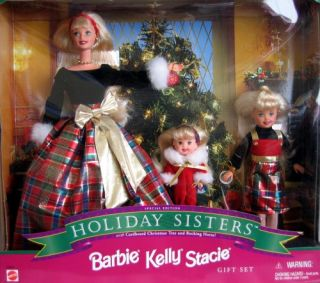 New Holiday Sisters 1998 Christmas Season Barbie Kelly Stacie Special Ed Dolls