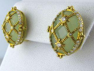 Judith Ripka 18K Gold Green Gemstone Diamond Earrings