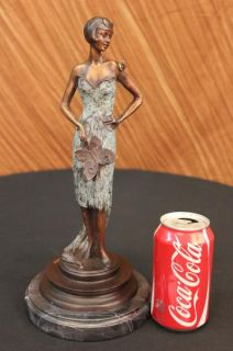 Art Nouveau Bronze Lady w Butterfly Girl Old Book End Sculpture Statue Figurine