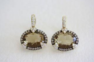 Judith Ripka Sterling 18K Gold Champagne Quartz Diamond Earrings