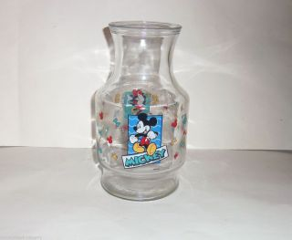 Disney Mickey Minnie Mouse Glass Juice Jar Container